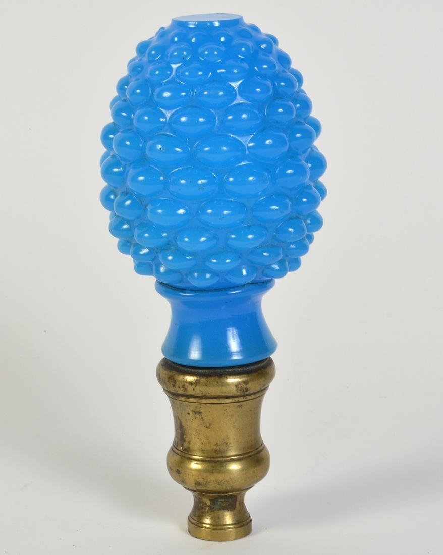 Antique Blue Opaline Boule Escalier Newel Post