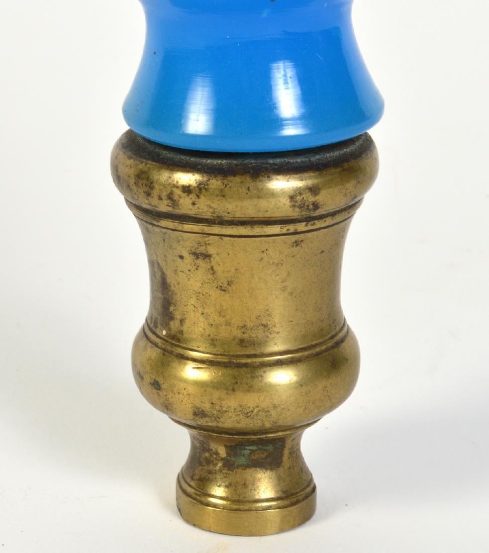 Antique Blue Opaline Boule Escalier Newel Post - 3