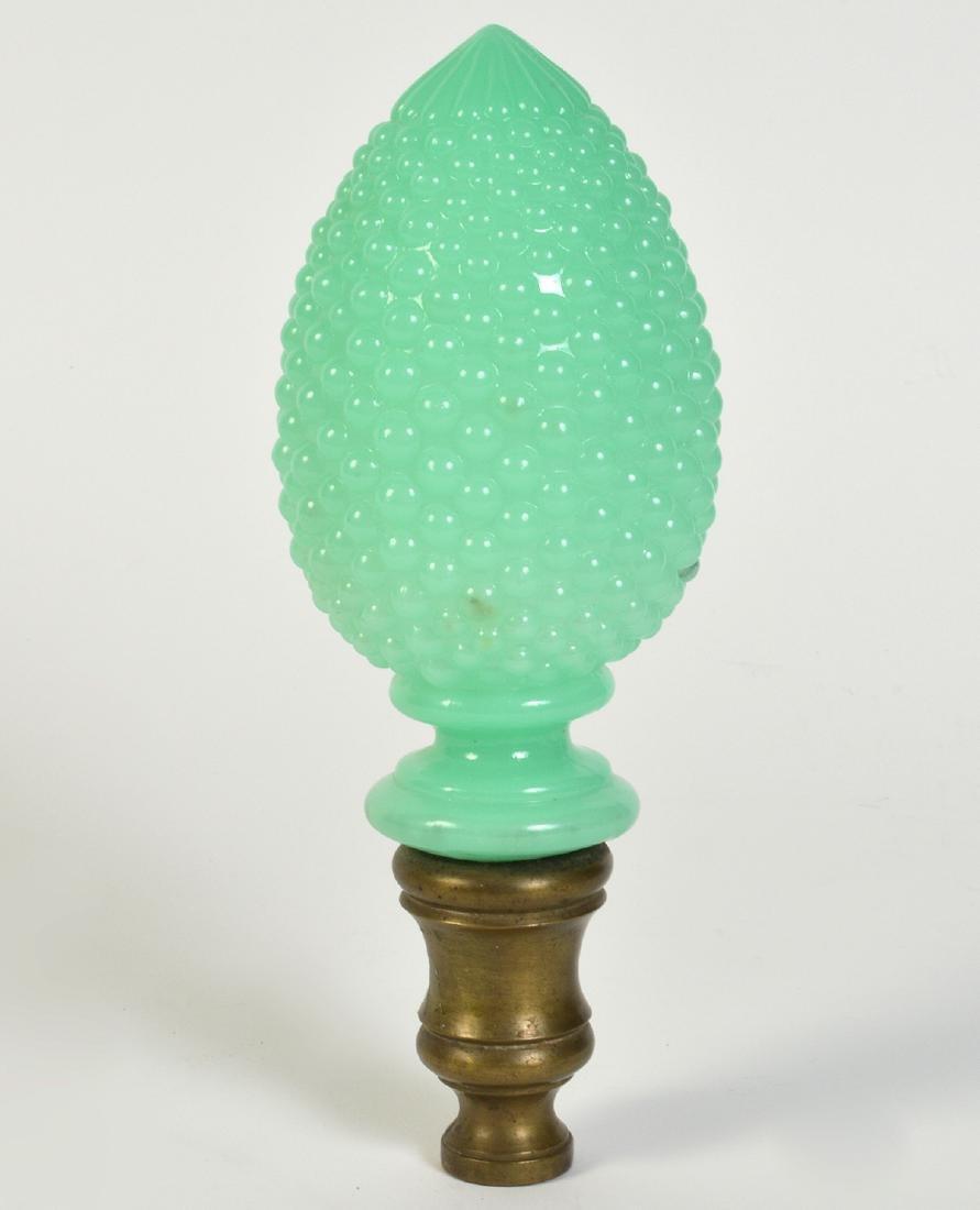 Antique Green Opaline Boule Newel Post