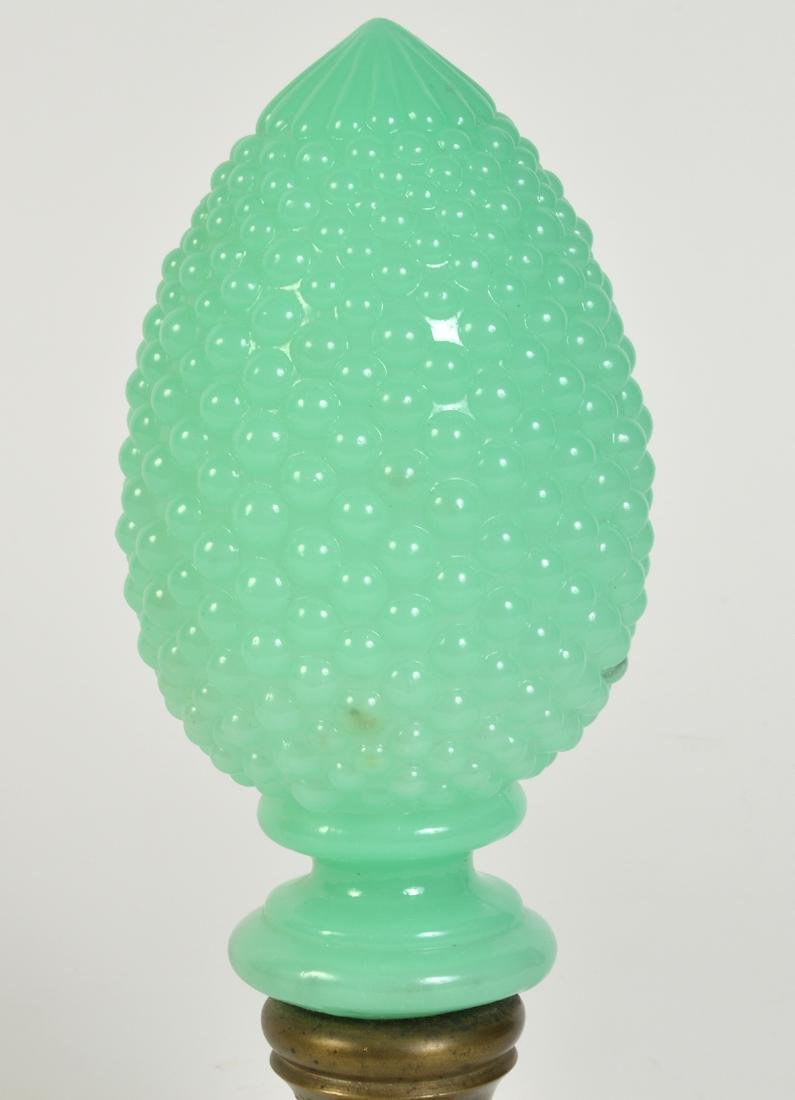 Antique Green Opaline Boule Newel Post - 2