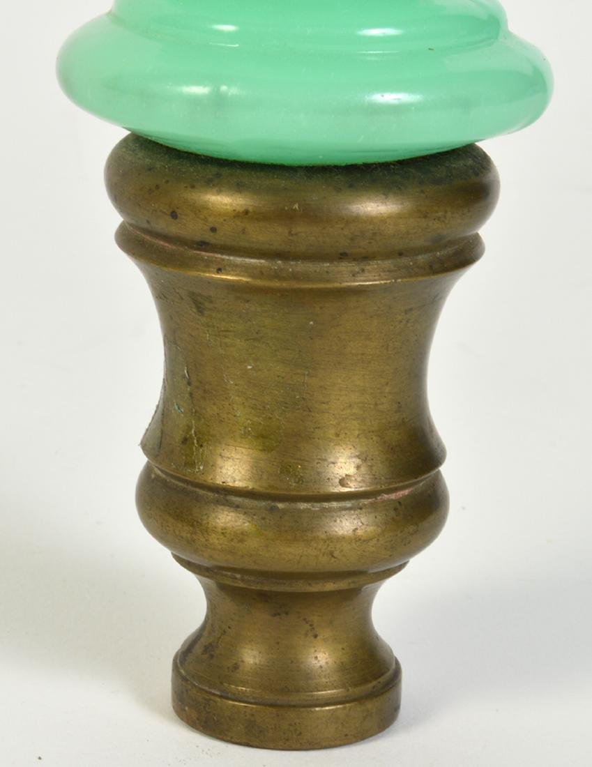 Antique Green Opaline Boule Newel Post - 3