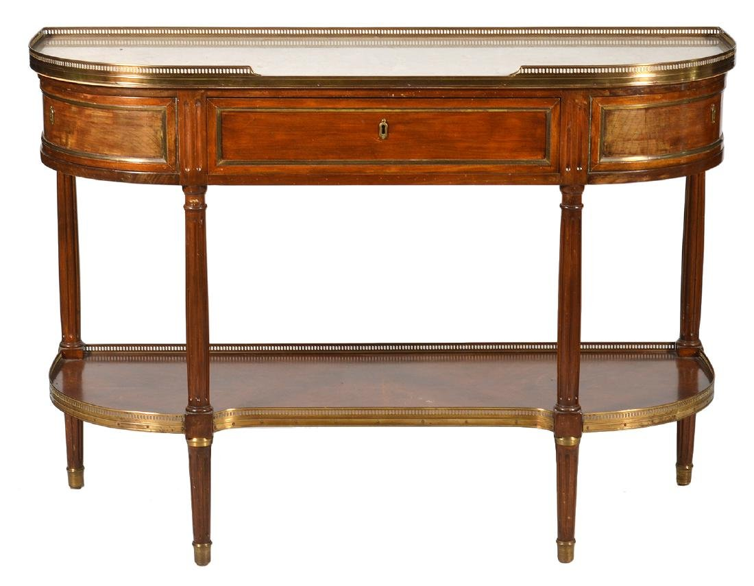 French Marble Top Demi-Lune Dessert Console