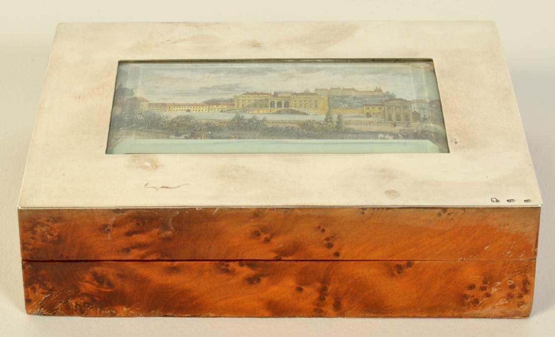 Sterling & Cedar Box with Miniature Scene on Lid