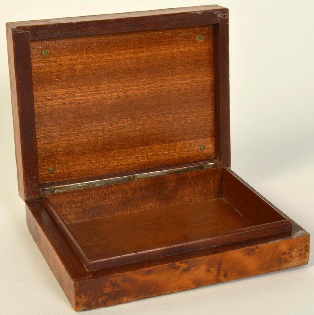 Sterling & Cedar Box with Miniature Scene on Lid - 5