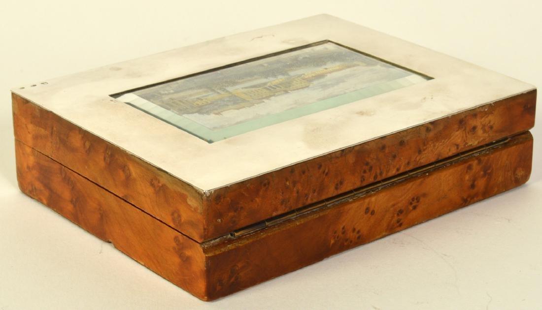 Sterling & Cedar Box with Miniature Scene on Lid - 7