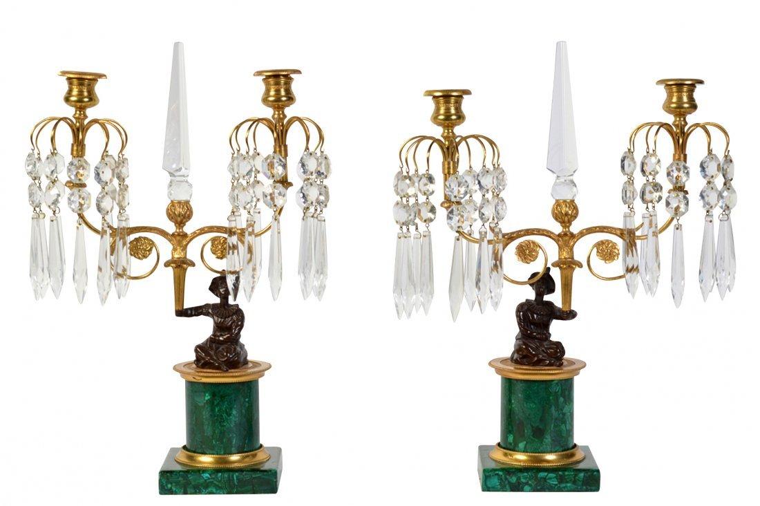 Pr. Malachite, Crystal & Bronze Candelabras