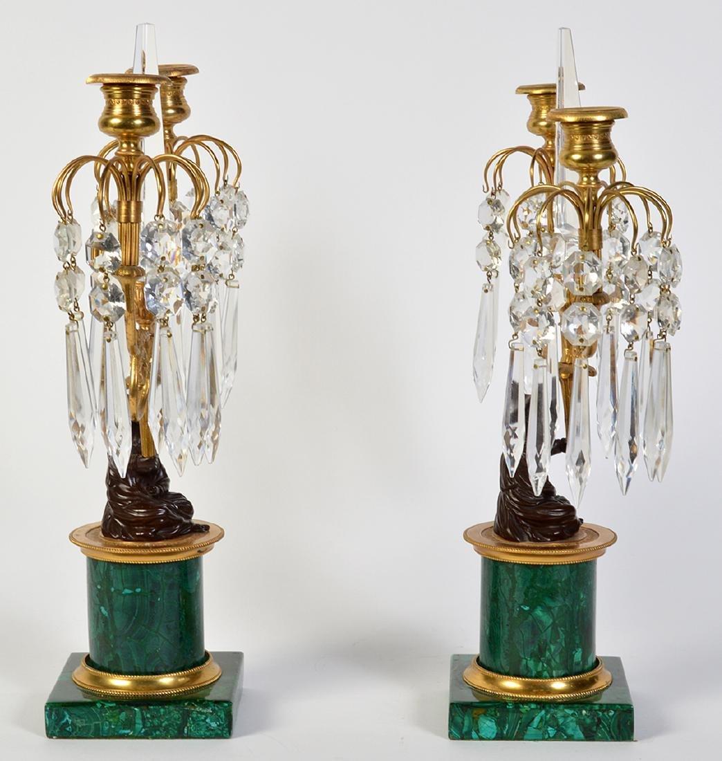 Pr. Malachite, Crystal & Bronze Candelabras - 5