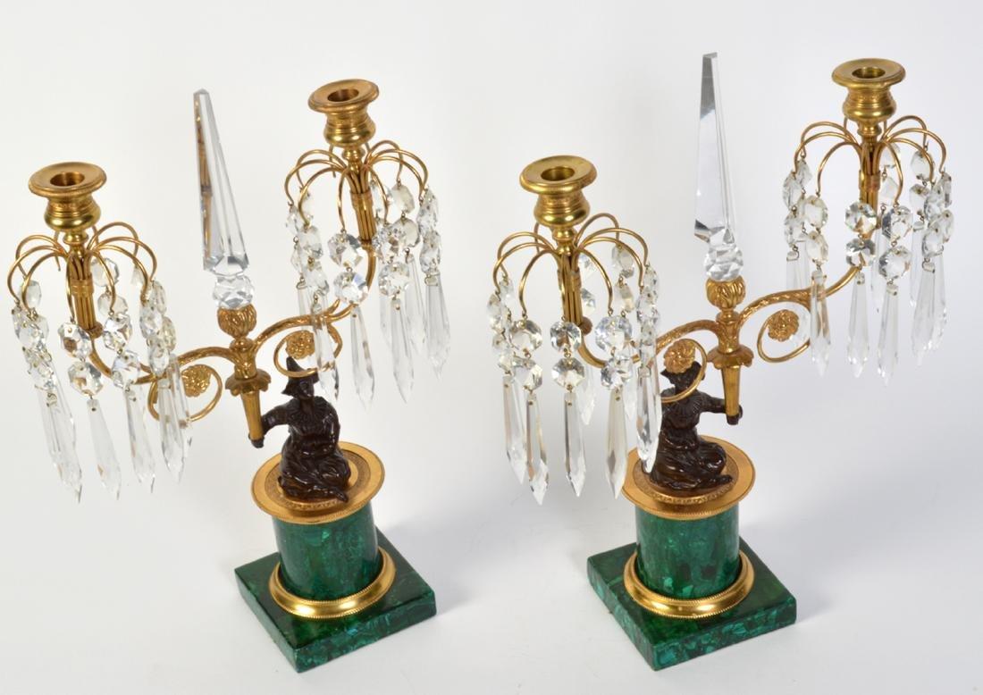 Pr. Malachite, Crystal & Bronze Candelabras - 9
