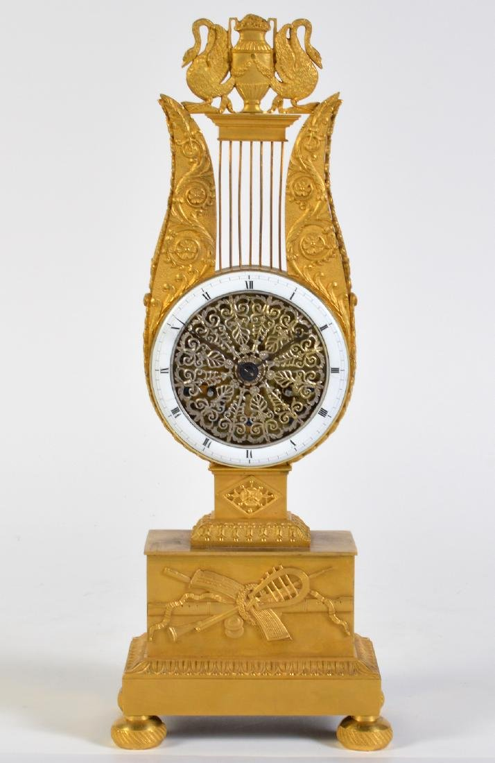 Empire Style Gilt Bronze Lyre Mantel Clock