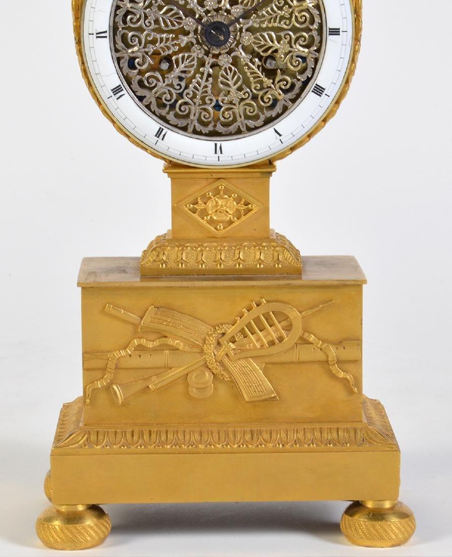 Empire Style Gilt Bronze Lyre Mantel Clock - 2