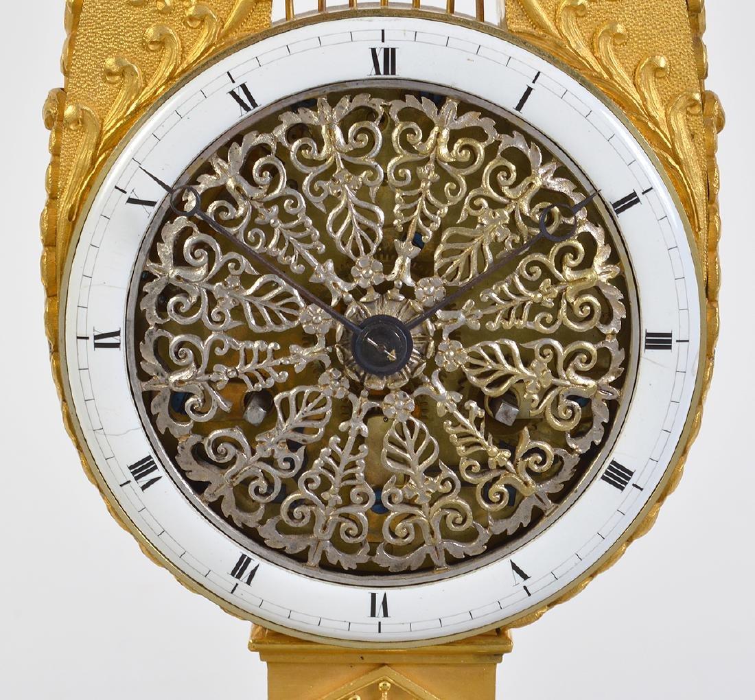 Empire Style Gilt Bronze Lyre Mantel Clock - 3