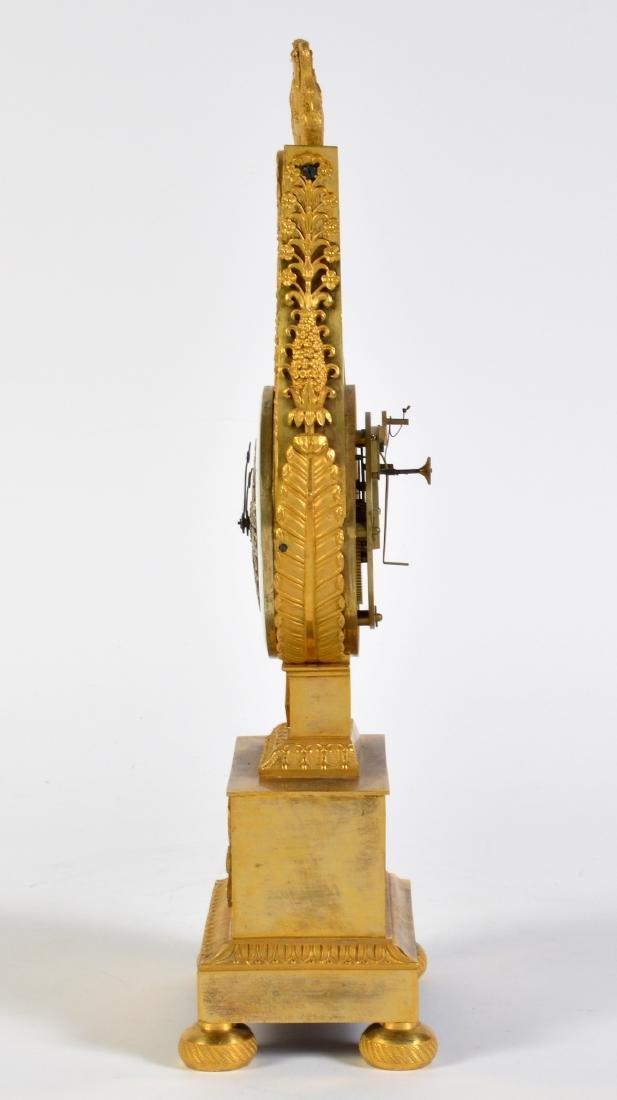 Empire Style Gilt Bronze Lyre Mantel Clock - 5
