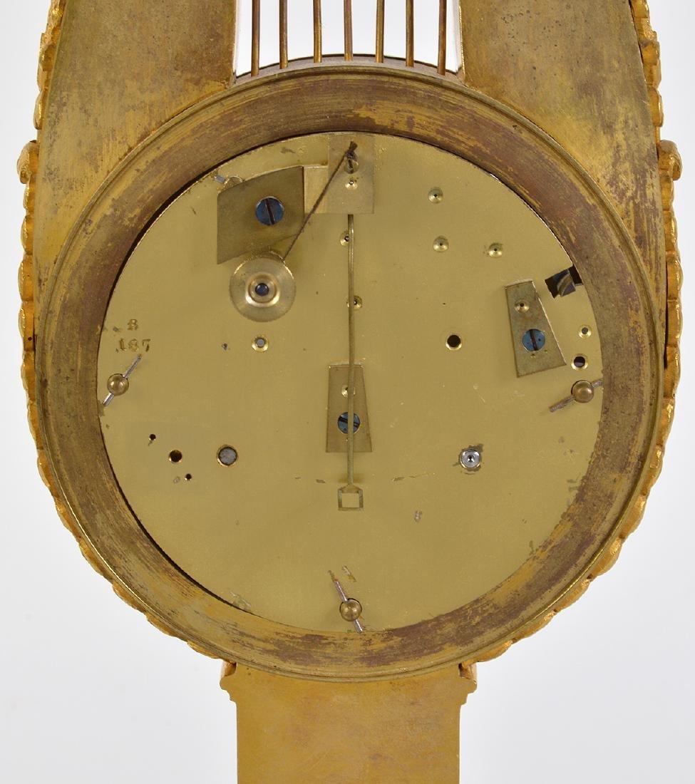 Empire Style Gilt Bronze Lyre Mantel Clock - 6