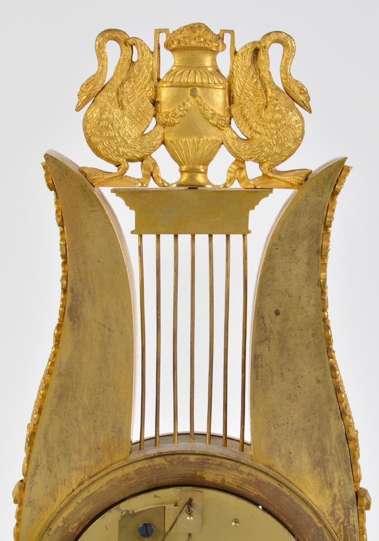 Empire Style Gilt Bronze Lyre Mantel Clock - 7