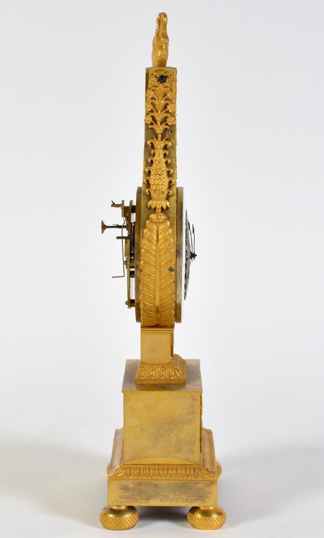 Empire Style Gilt Bronze Lyre Mantel Clock - 9