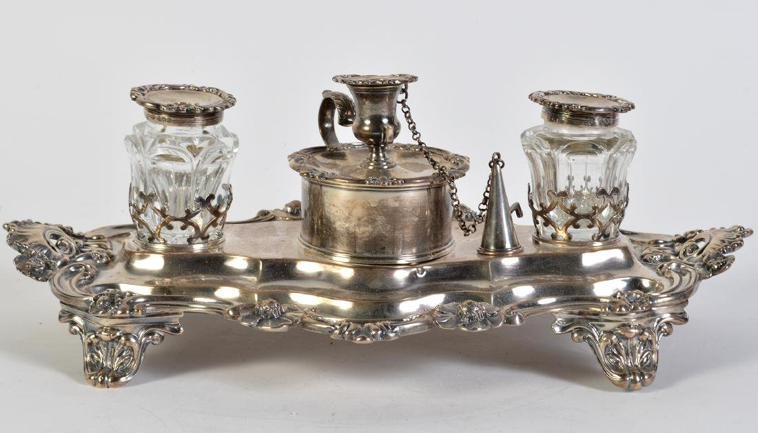 English Victorian Sterling Hallmarked Inkstand