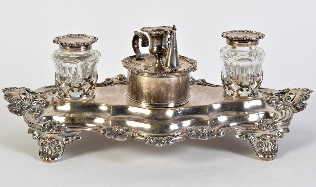 English Victorian Sterling Hallmarked Inkstand - 4