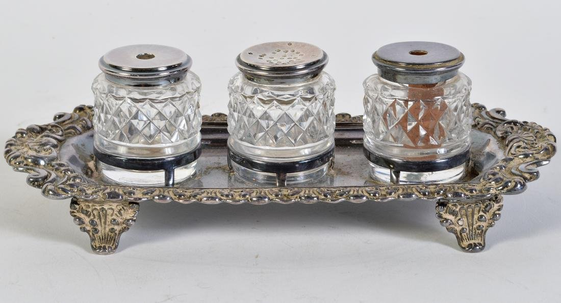 English Victorian Sterling Hallmarked Inkstand - 7