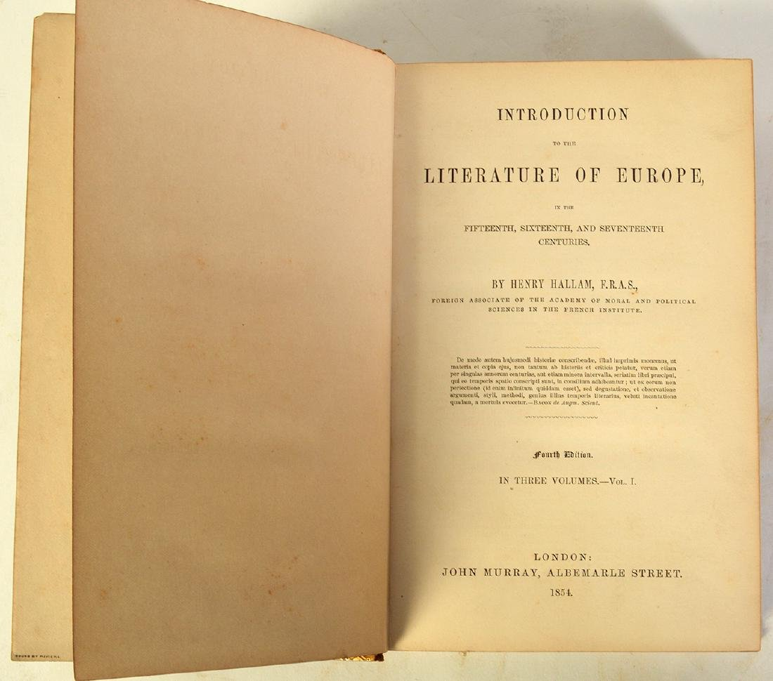 """3 Volumes by Henry Hallam """"Literature of Europe"""" - 4"""
