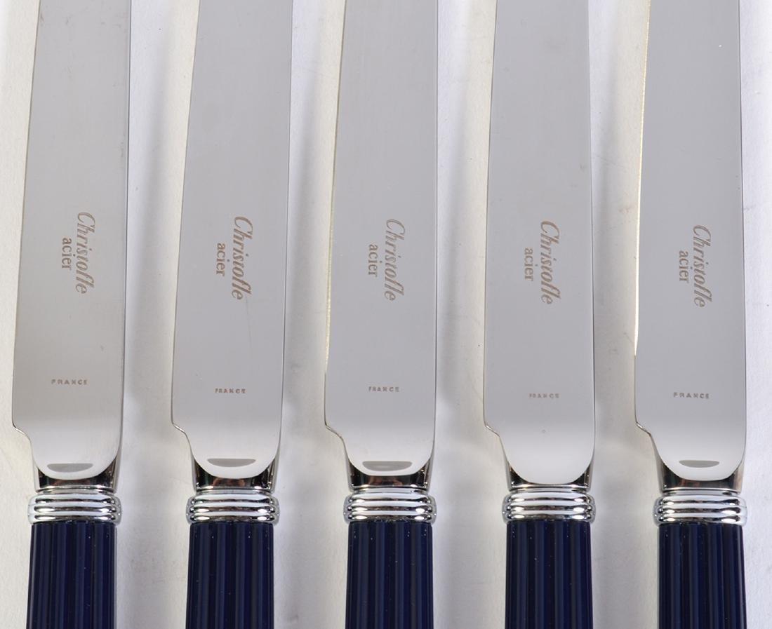 18 Christofle Paris Aria Bleu Dessert Knives - 4