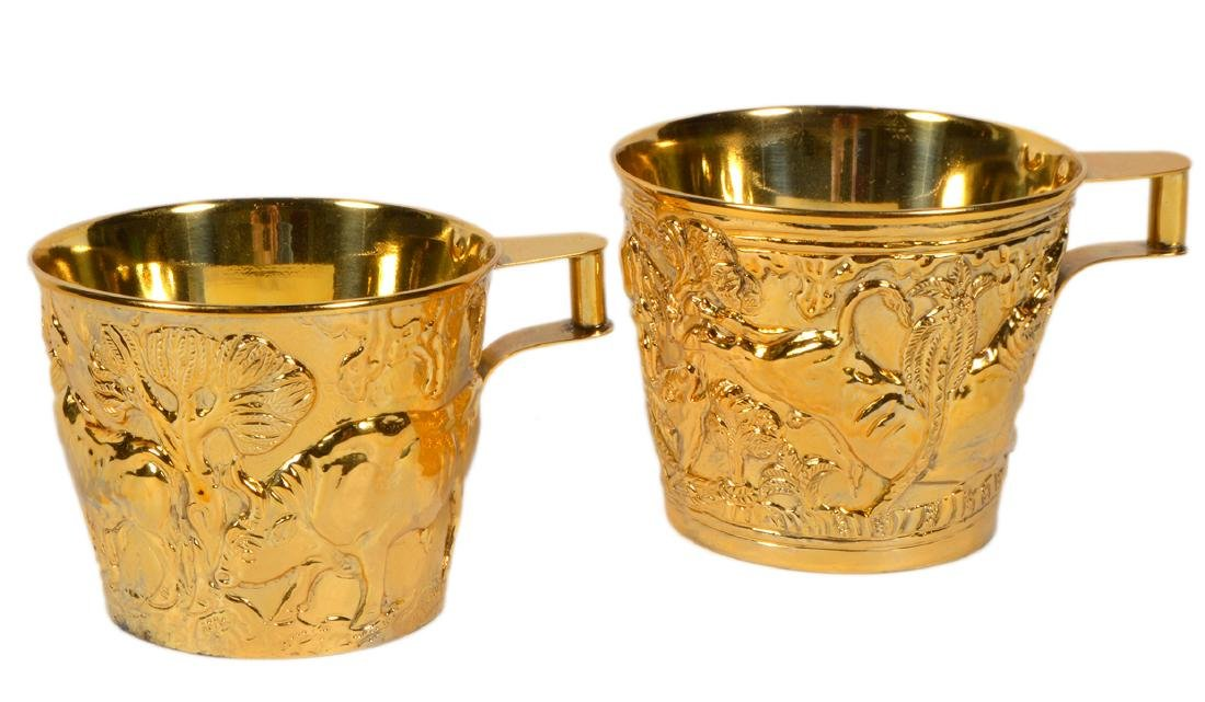 Pair of Greek Gilt Sterling Lalaounis Cups
