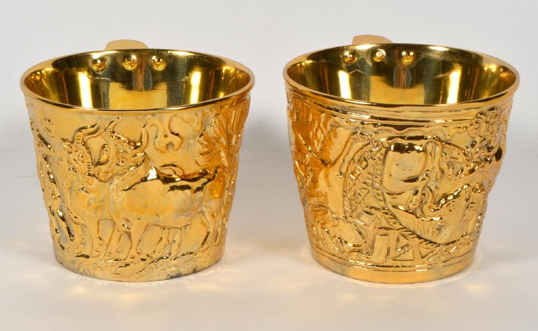 Pair of Greek Gilt Sterling Lalaounis Cups - 2