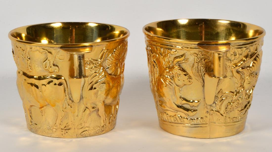 Pair of Greek Gilt Sterling Lalaounis Cups - 4