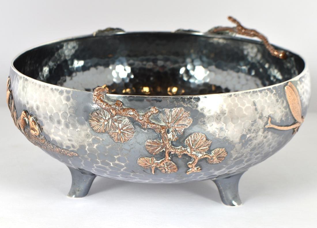 Gorham Sterling & Copper Hand Hammered Bowl - 4