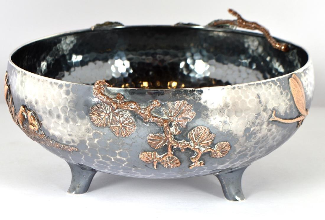 Gorham Sterling & Copper Hand Hammered Bowl - 5