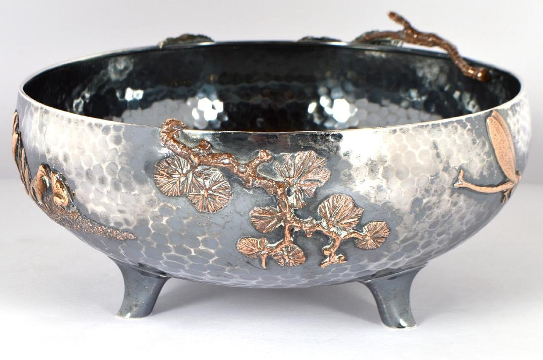 Gorham Sterling & Copper Hand Hammered Bowl - 6