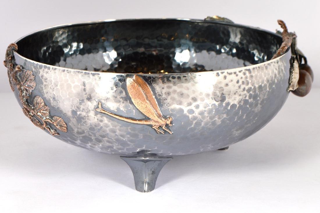 Gorham Sterling & Copper Hand Hammered Bowl - 7
