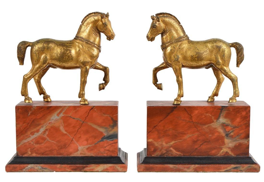 19th Ct. Pr. Gilt Bronze Horses on Faux Marble Plinths