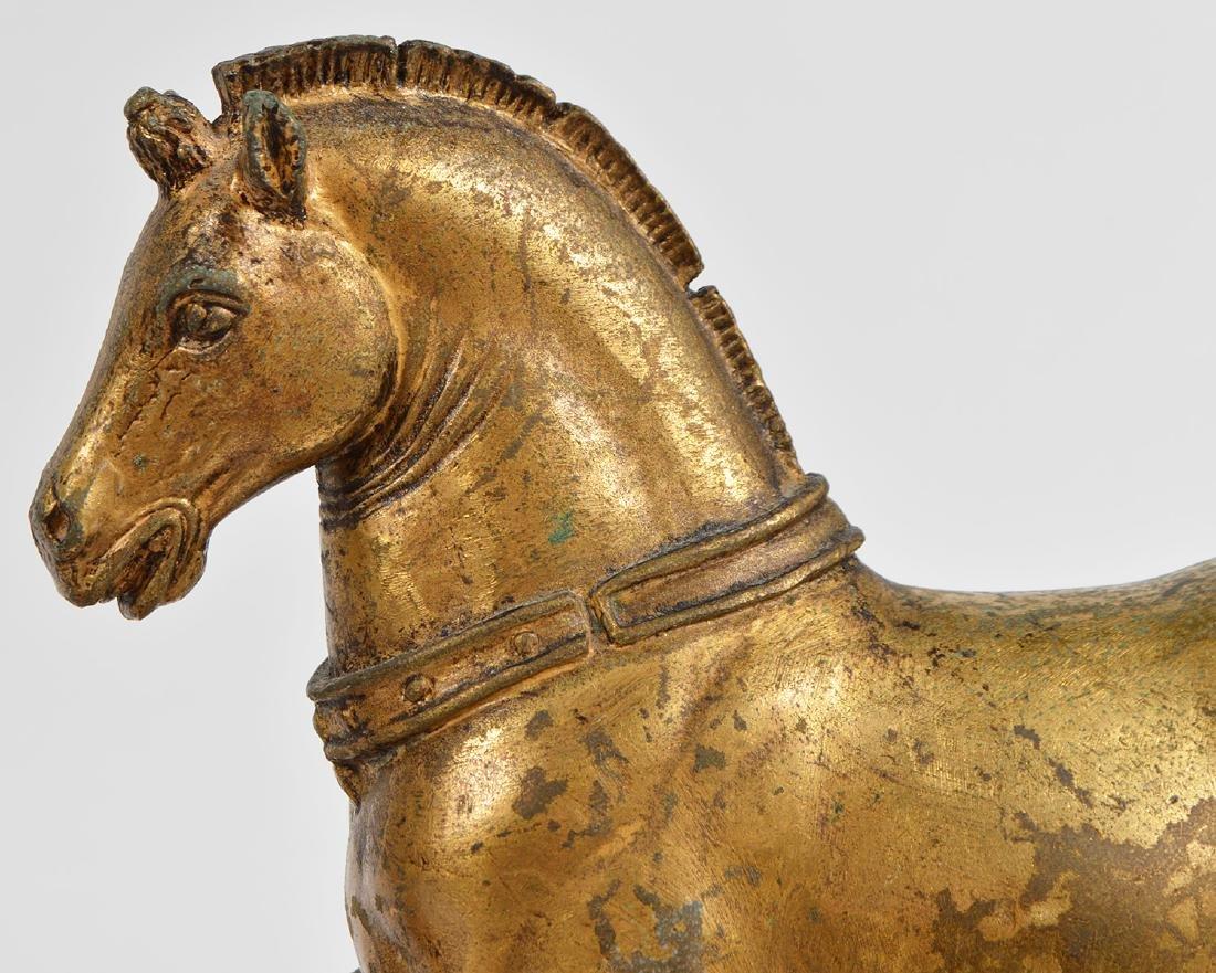 19th Ct. Pr. Gilt Bronze Horses on Faux Marble Plinths - 2