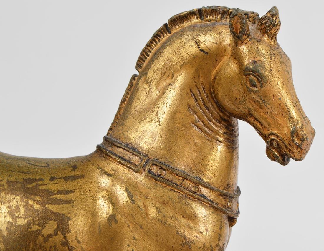 19th Ct. Pr. Gilt Bronze Horses on Faux Marble Plinths - 3