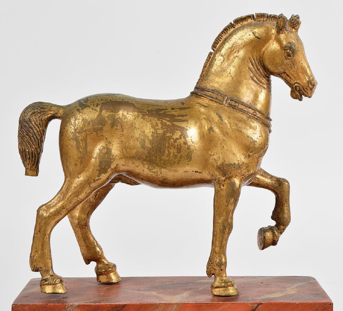19th Ct. Pr. Gilt Bronze Horses on Faux Marble Plinths - 7