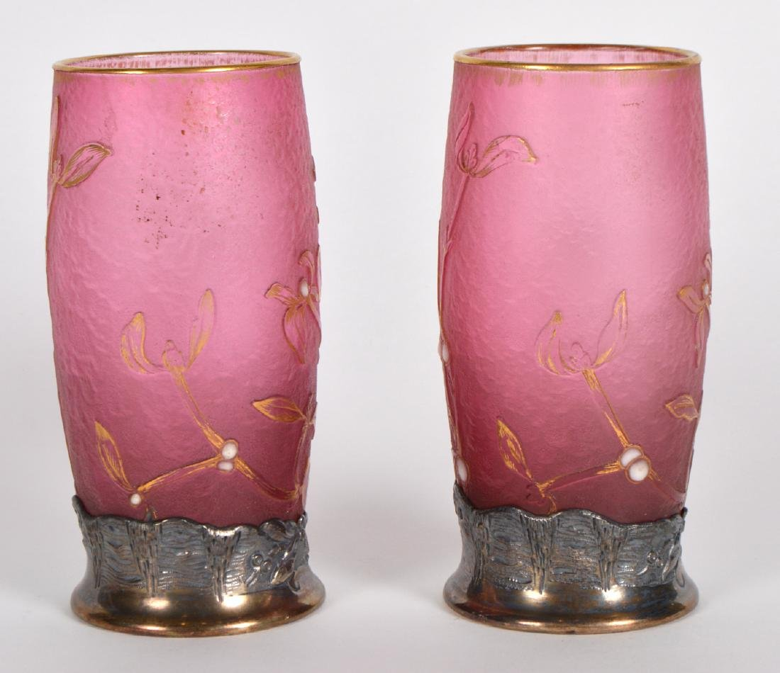 Pair of Daum Nancy Silver Mounted Cameo Vases - 10