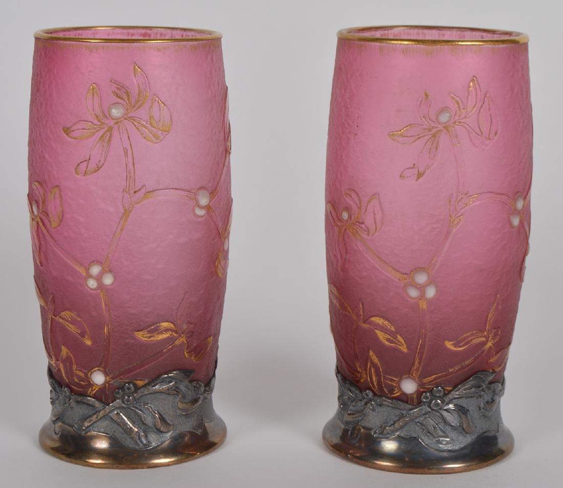 Pair of Daum Nancy Silver Mounted Cameo Vases - 3