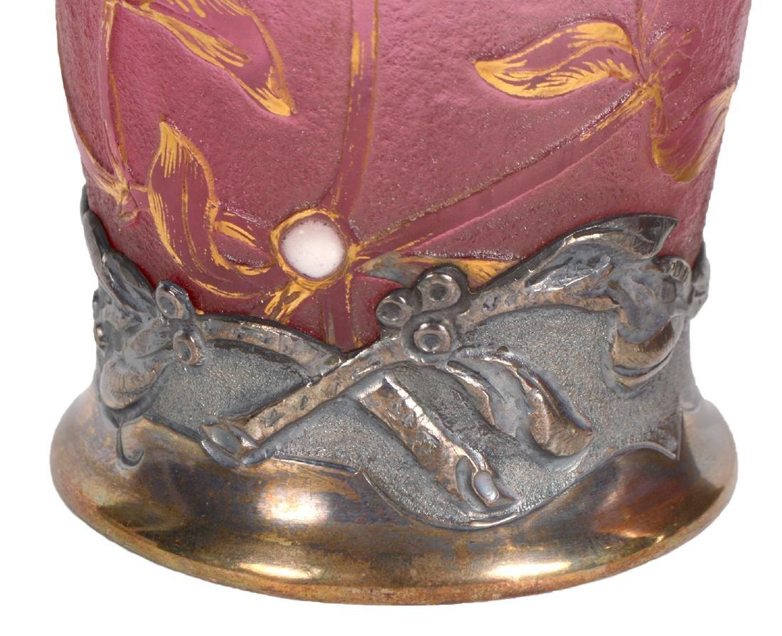 Pair of Daum Nancy Silver Mounted Cameo Vases - 7