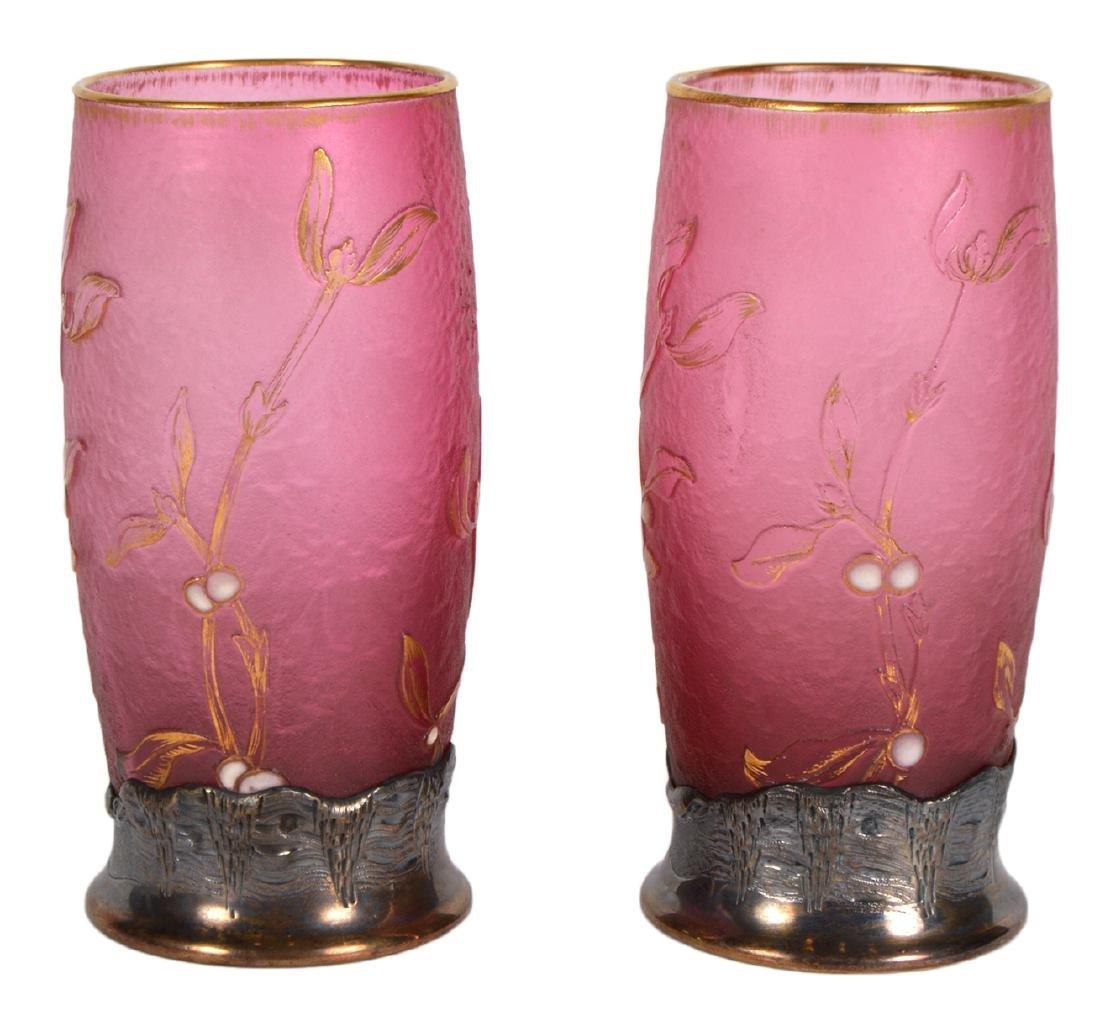 Pair of Daum Nancy Silver Mounted Cameo Vases - 9