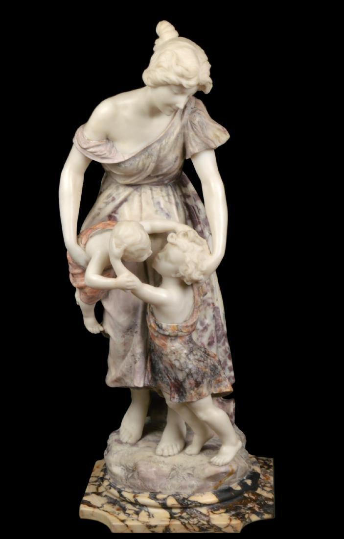 Signed Multi-Color Marble Figural Sculpture