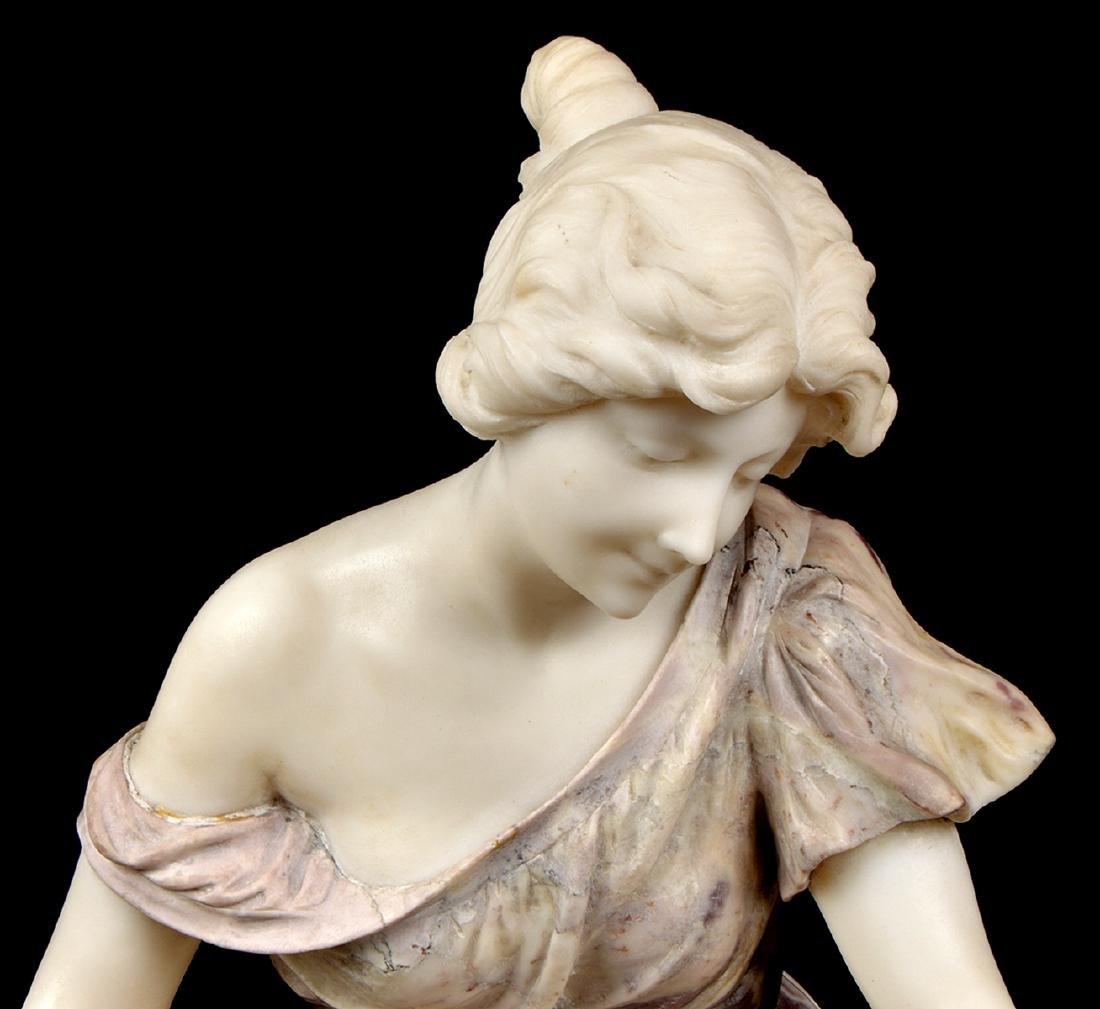 Signed Multi-Color Marble Figural Sculpture - 3