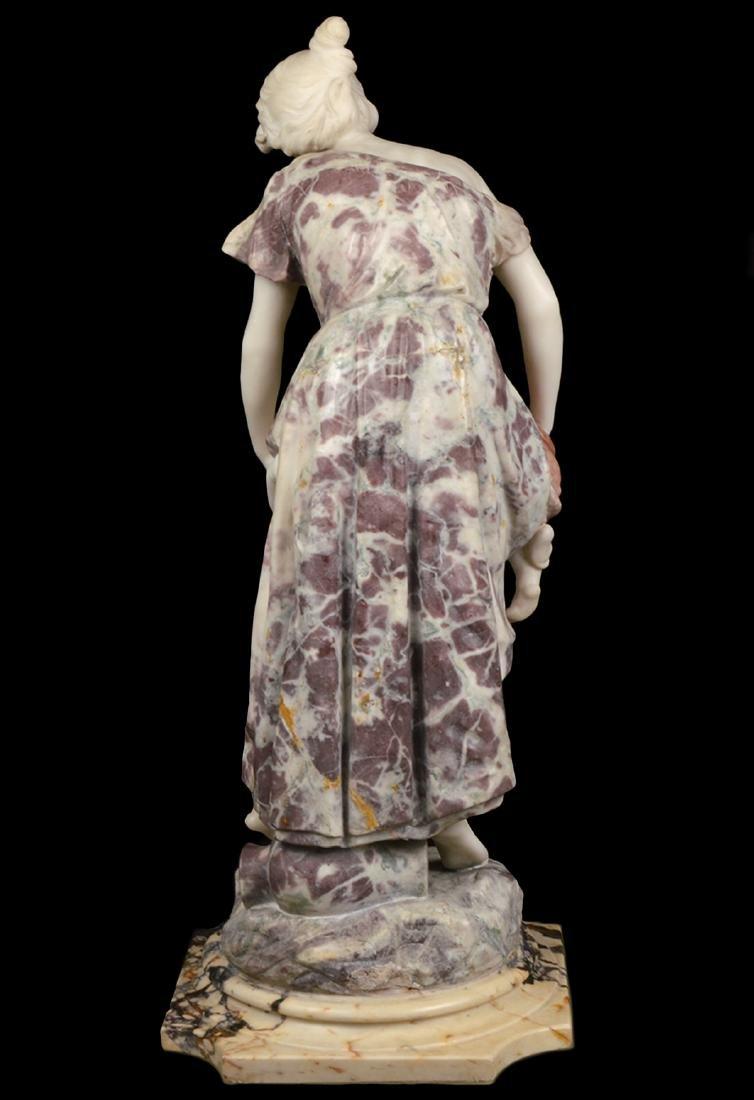 Signed Multi-Color Marble Figural Sculpture - 6