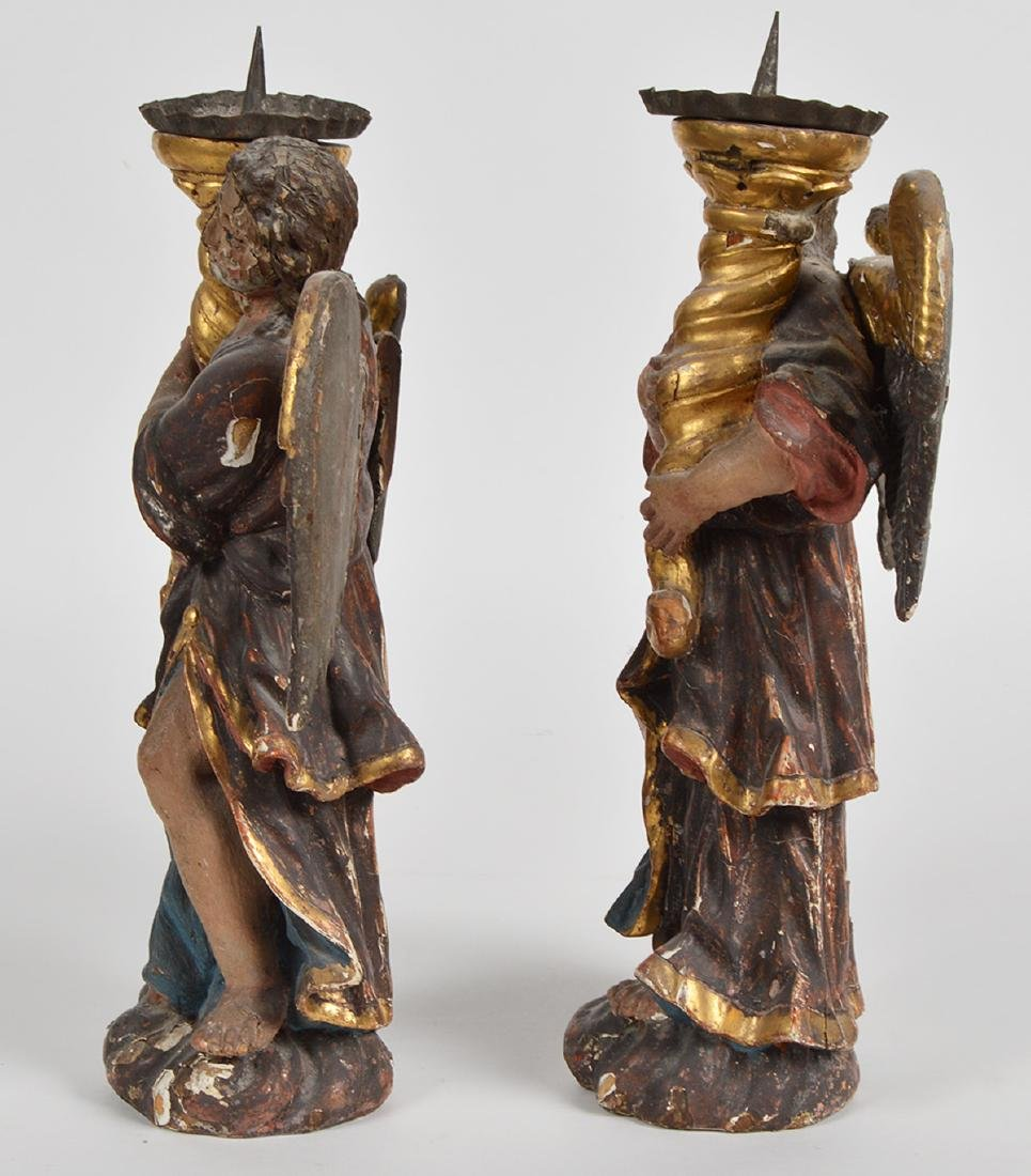 Pr. 18th C. Italian Carved & Gilded Angel Prickets - 2