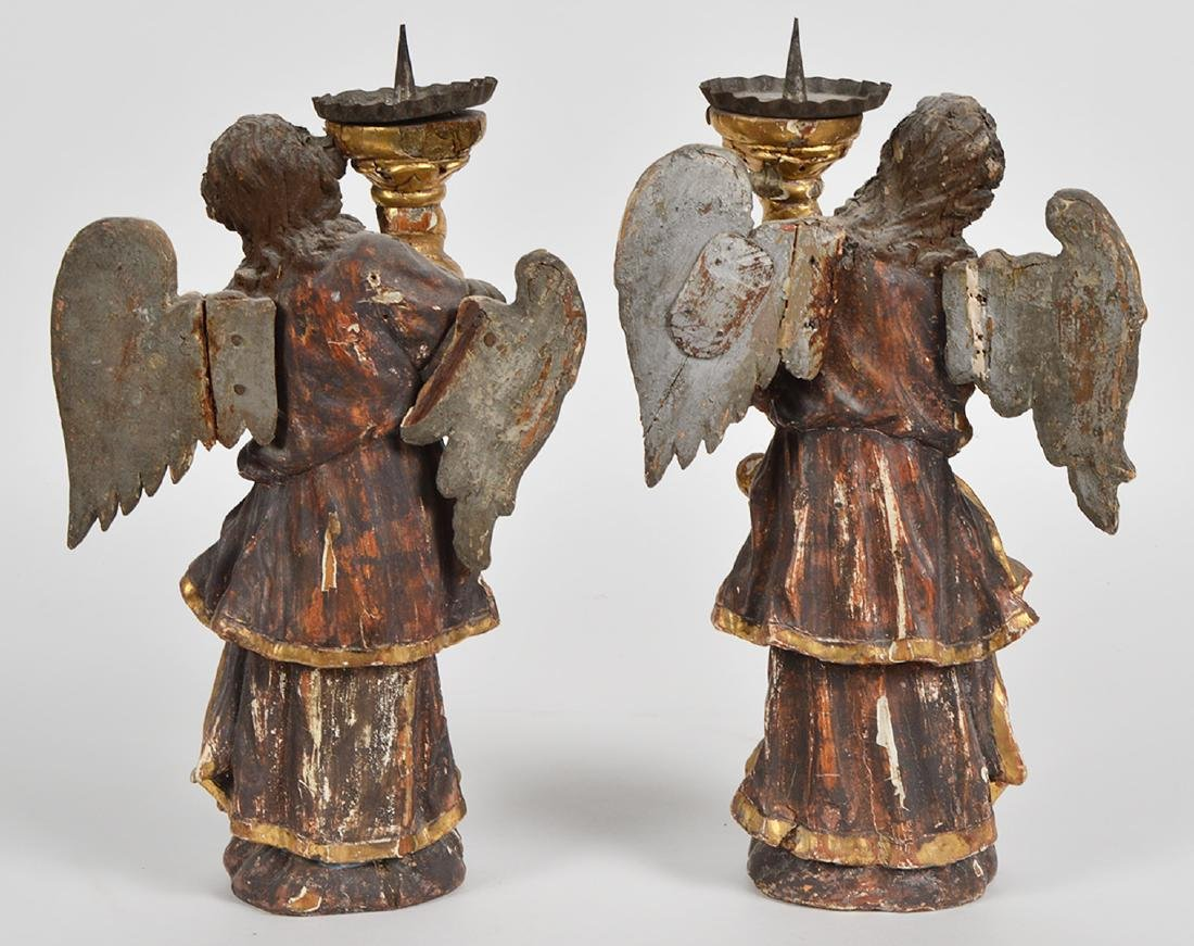 Pr. 18th C. Italian Carved & Gilded Angel Prickets - 3