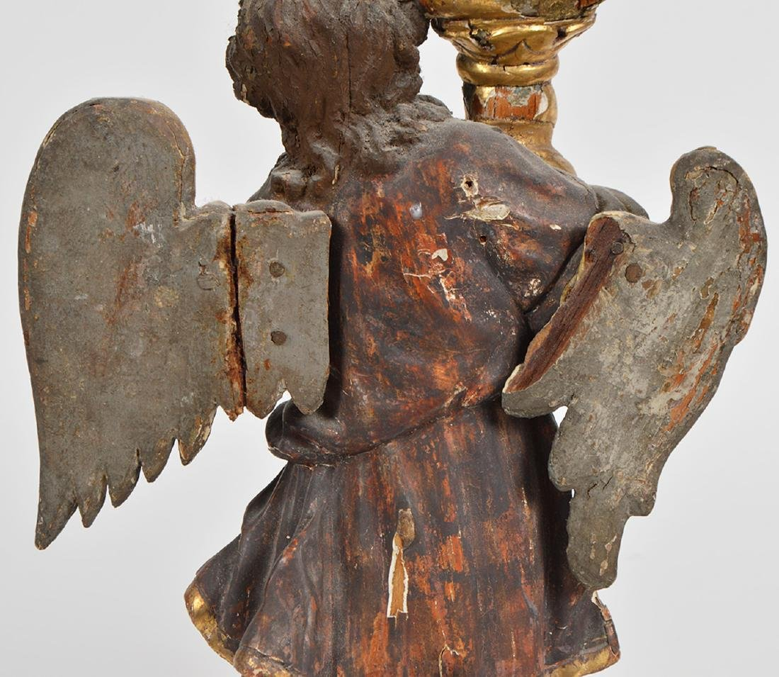 Pr. 18th C. Italian Carved & Gilded Angel Prickets - 4