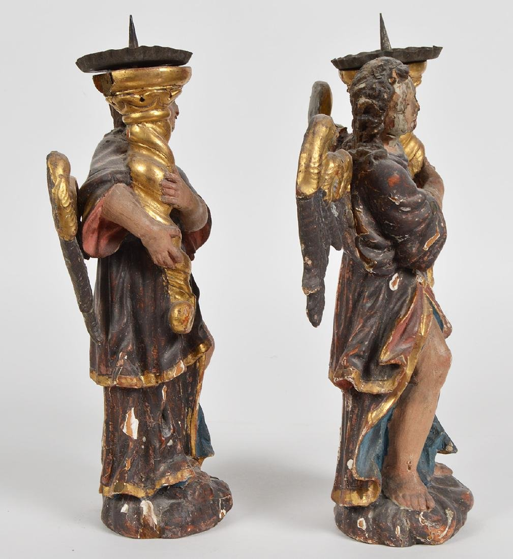 Pr. 18th C. Italian Carved & Gilded Angel Prickets - 6