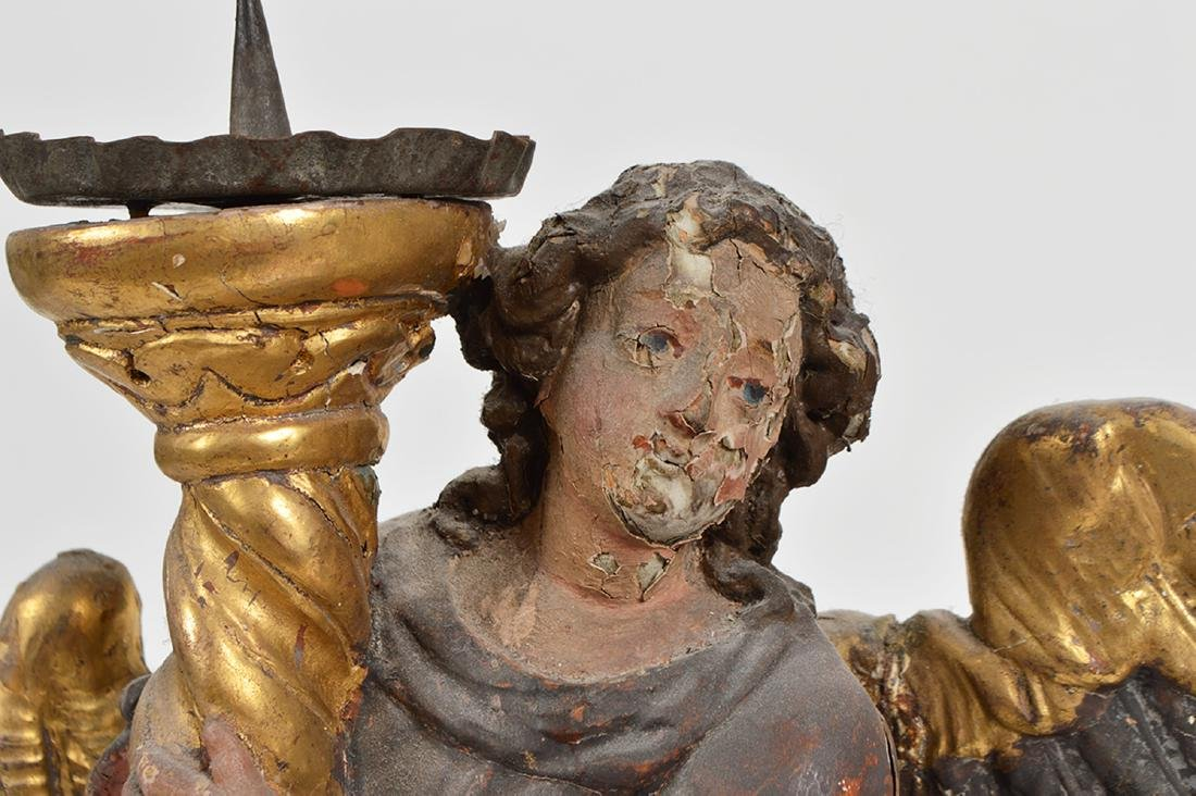 Pr. 18th C. Italian Carved & Gilded Angel Prickets - 8
