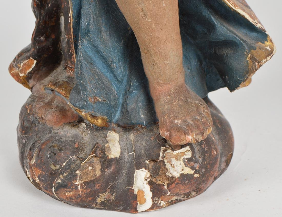 Pr. 18th C. Italian Carved & Gilded Angel Prickets - 9