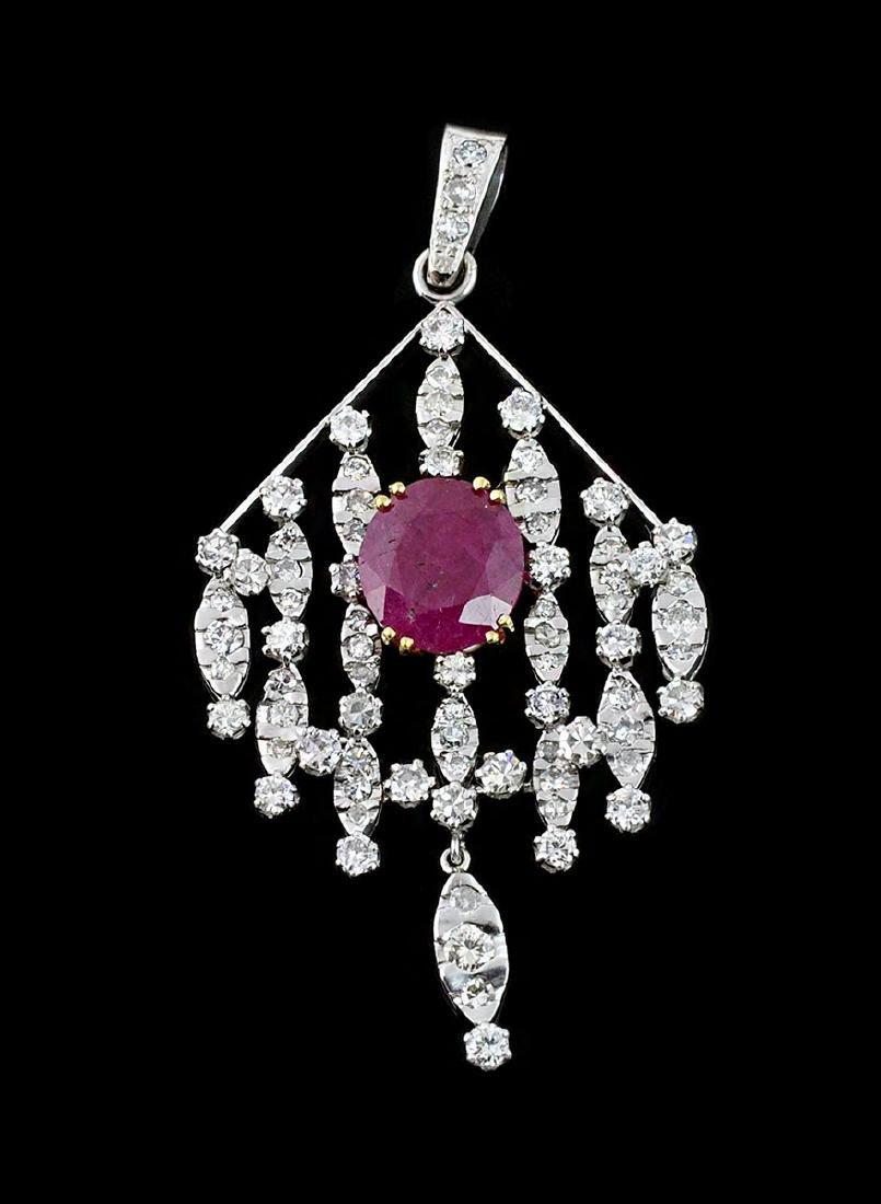 18Kt WG Ruby & Diamond Articulated Pendant