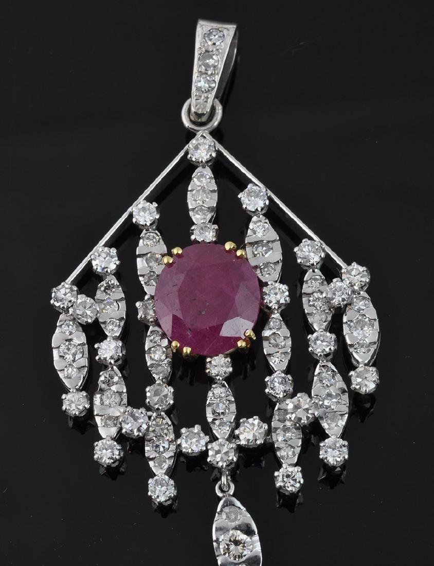 18Kt WG Ruby & Diamond Articulated Pendant - 2